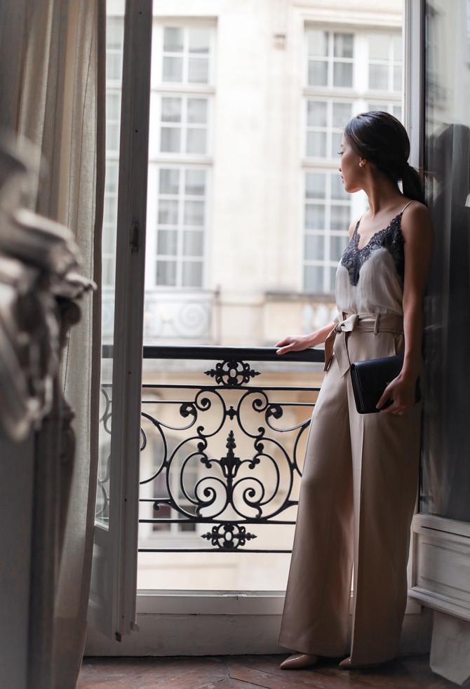 paris airbnb apartment rental wide leg pants outfit