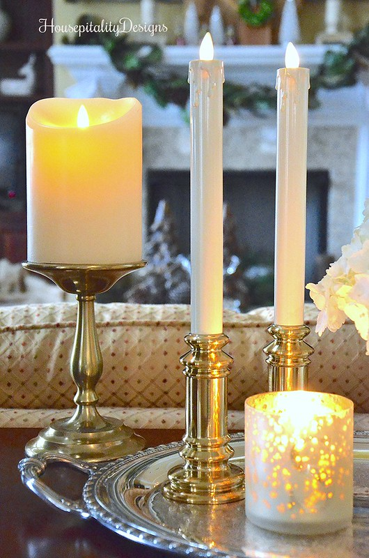 Winter vignette-Luminara Candles-Brass-Housepitality Designs