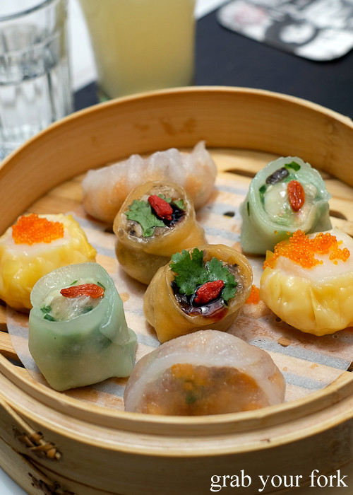 Scallop and prawn, jade seafood, wild mushroom and crystal pumpkin dim sum at Queen Chow by Merivale in Enmore