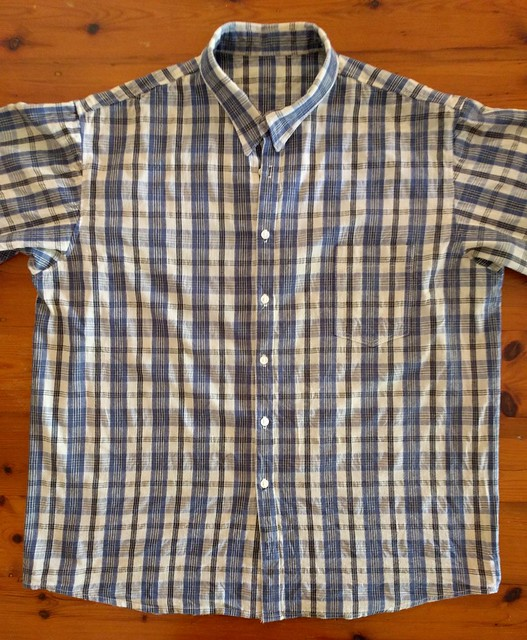 A man's checked button up shirt.