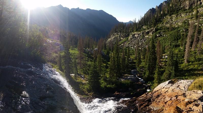 The upper waterfall on Lake Creek just below Moon Lake as we hike down the Emerald Lake Trail