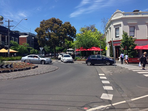 South Melbourne market pedestrian-priority roundabout