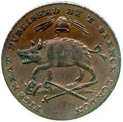 Spence copper farthing reverse