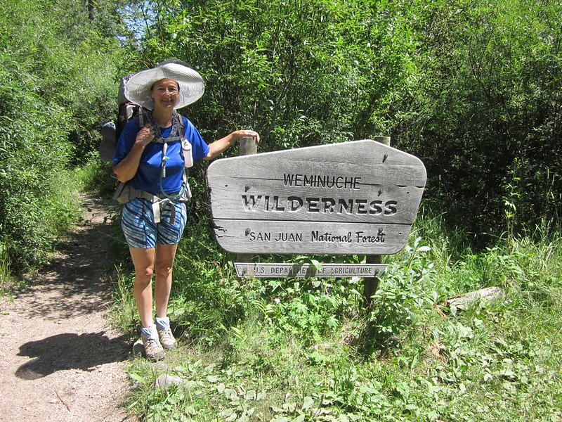 Weminuche Wilderness sign on the Pine River Trail