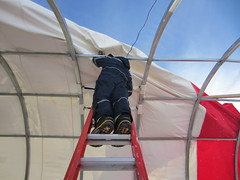 Taking down the drill tent at the end of the 2016-2017 field season.