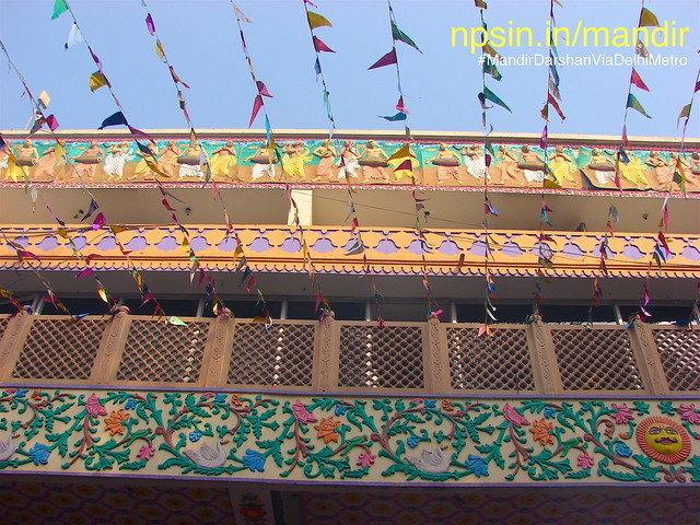 Colourful triangulate pannis decorated temple outer open campus on Ekadasi Vrat.