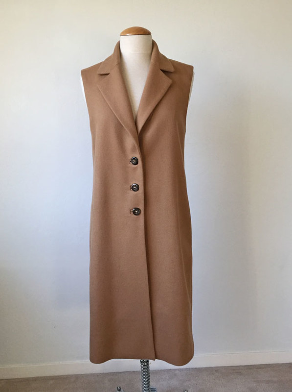 camel coat on form front full length