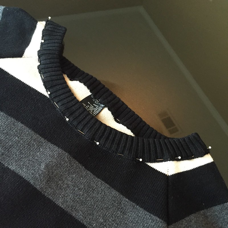 Asymmetric Striped Sweater - In Progress