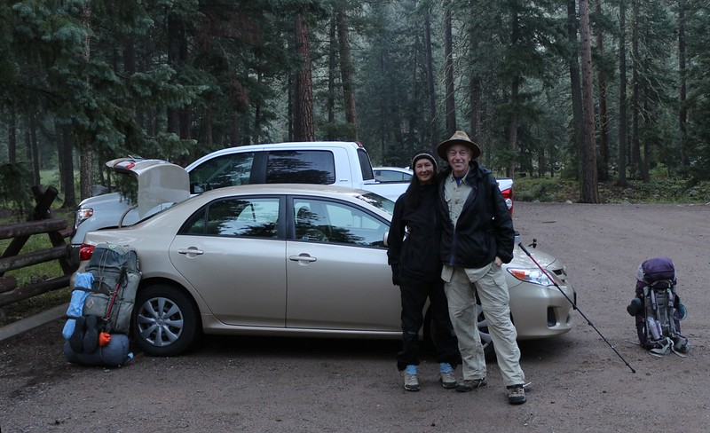 Ready to hike in the Vallecito Creek Trailhead Parking Lot next to the Vallecito Campground