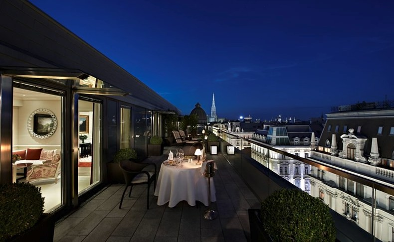 The Presidential Penthouse Suite Terrace at the Hotel Sacher Wien