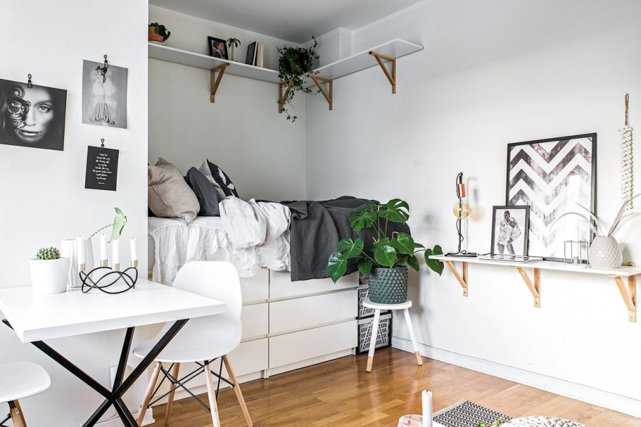 Small Black and White Studio Apartment