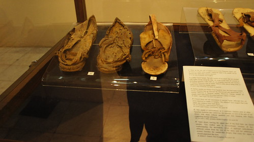 A collection of ancient Egypt leather sandals and shoes