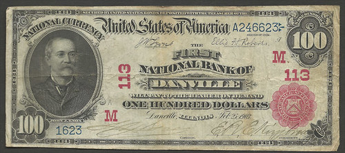 $100 note from the First National Bank of Danville, Illinois