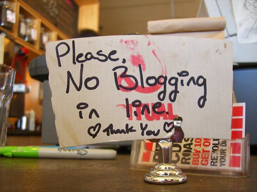 Please, no blogging in line. | by factoryjoe