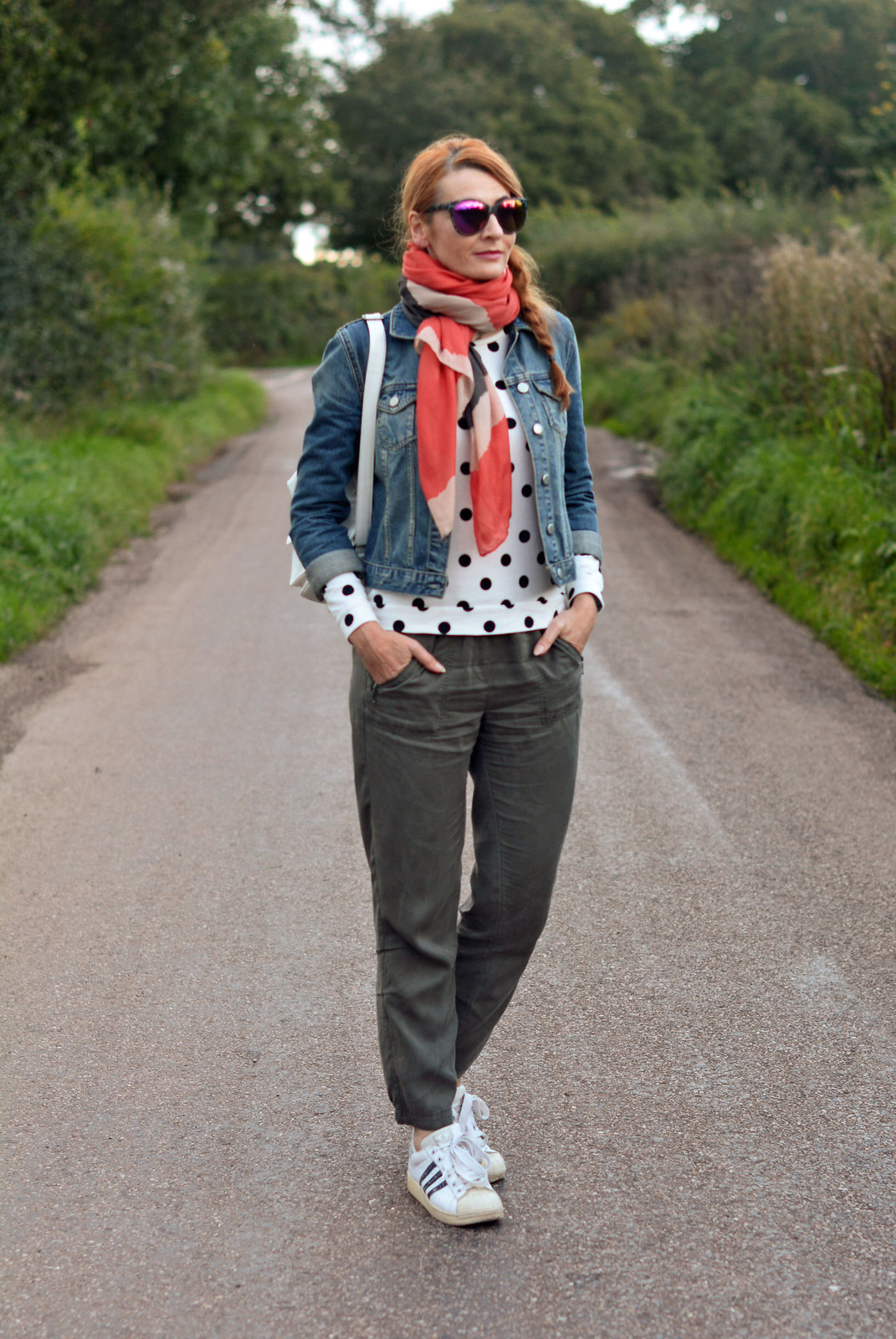Casual weekend wear | Denim jacket with scarf, polka dots, khaki pants, Adidas Originals
