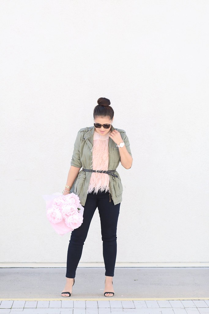 simplyxclassic, peachy blush feather top, pink, feather tank, spring, utility jacket, blogger, fashion