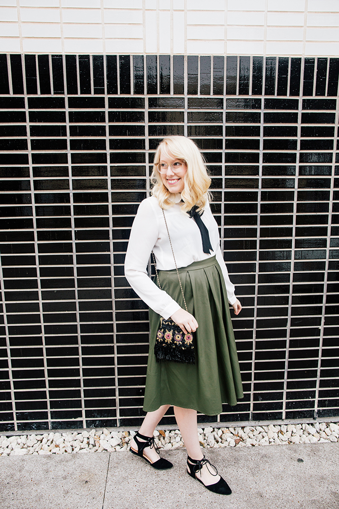 writes like a girl necktie blouse leather skirt holiday outfit2