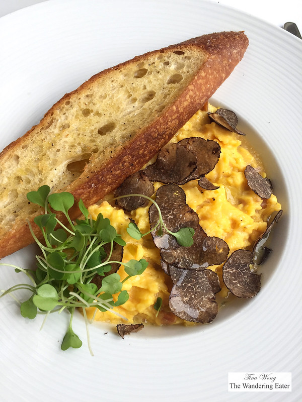 Soft Scrambled Eggs & Seasonal Truffles, Toasted Baguette, House Smoked Salmon