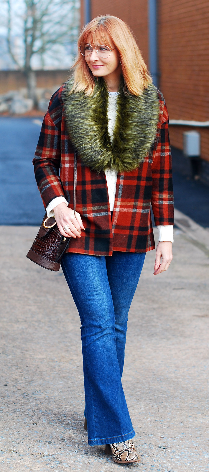Autumnal casual outfit of faux fur collar \ red tartan jacket \ denim flares \ snakeskin boots | Not Dressed As Lamb, over 40 style