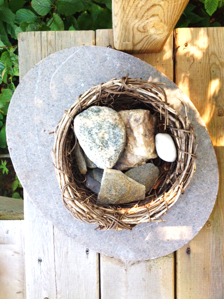 rocks and old nests make for a nice outdoor patio decoration