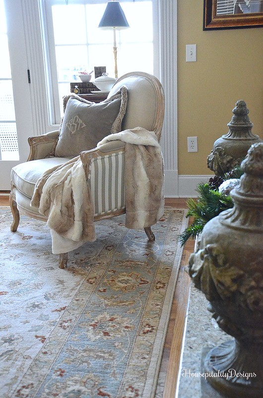 Winter Home Tour-Helena Chair-Pottery Barn Pillow-Housepitality Designs