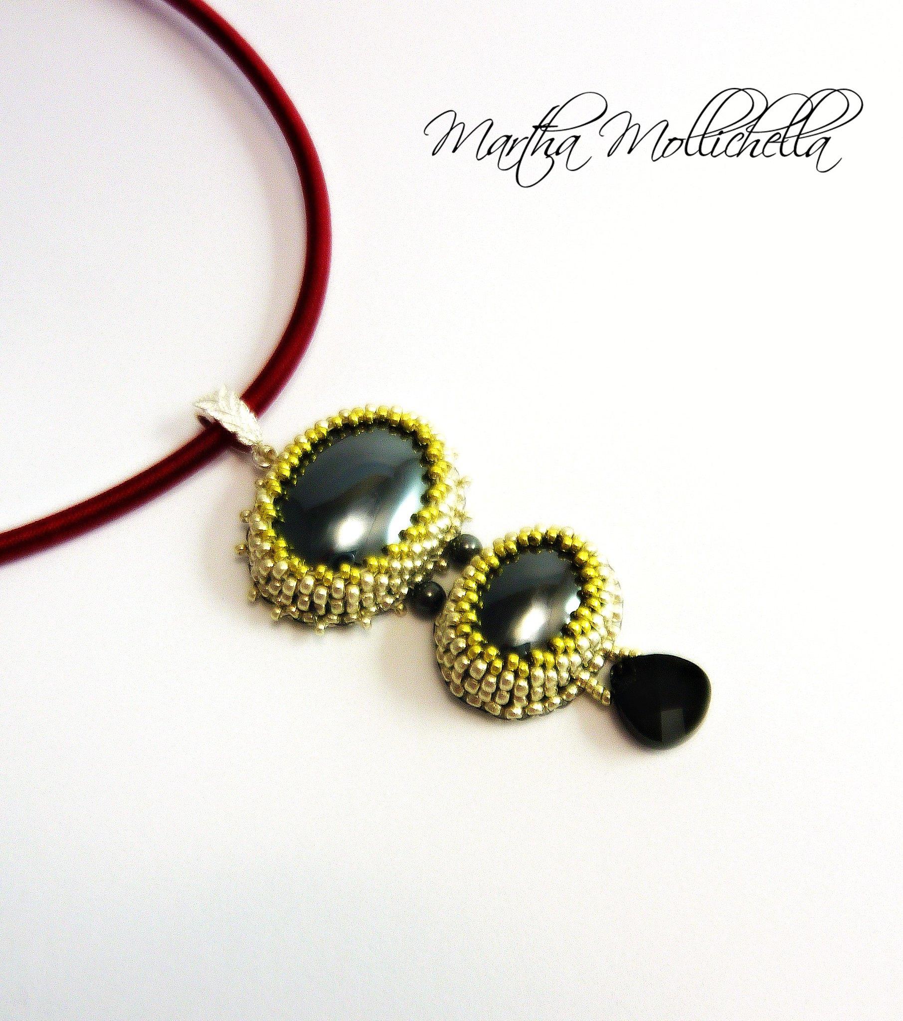Ematite ciondolo pendente  handmade by  Martha Mollichella