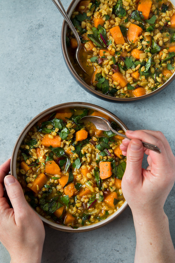Sweet Potato And Beet Green Soup With Farro | Will Cook For Friends