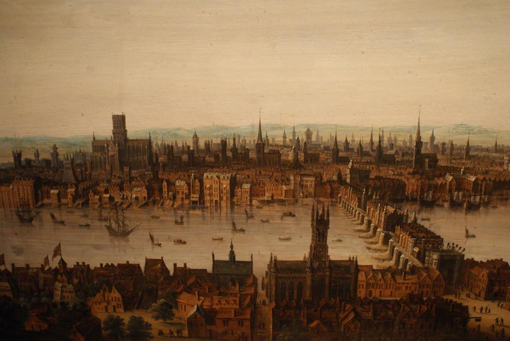 Panorama de Londres hérissé de tours d'églises avant le grand incendie.