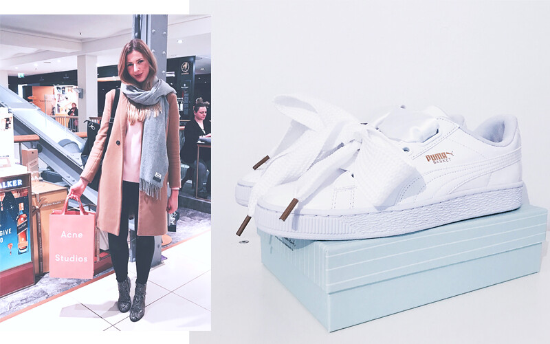 Puma Baskets bow white Acne Bag outfit