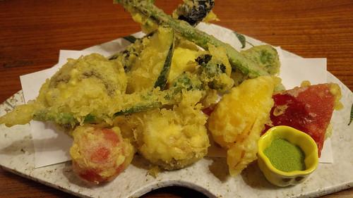 Japanese tempura vegetables with green tea salt- Kobayashi Soba Matsumoto