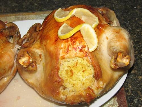 Roast Chicken with Curry- Rice Stuffing (Brathuhnchen mit Curryreis ...