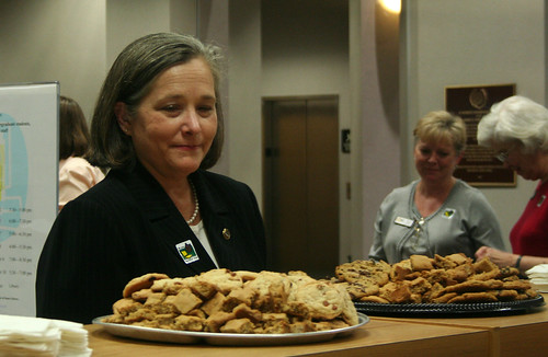 Dean Orr checks the standards of the homemade cookies | by Baylor University Libraries