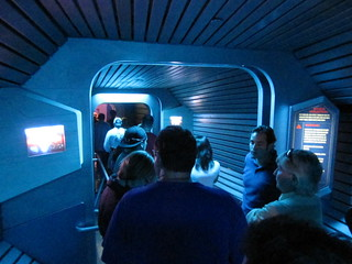 "In line for ""ghost galaxy"" ride 