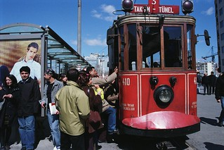 People prepare to board trolley | by World Bank Photo Collection