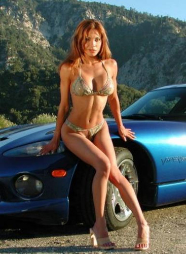 Corvette And Beautiful Girl In Bikini Blue Corvette And