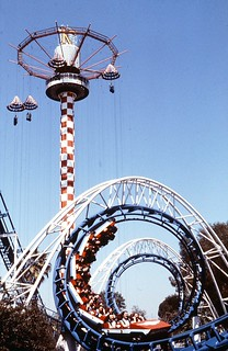 Corkscrew and Sky Jump, Knott's Berry Farm, circa 1980 | by Orange County Archives