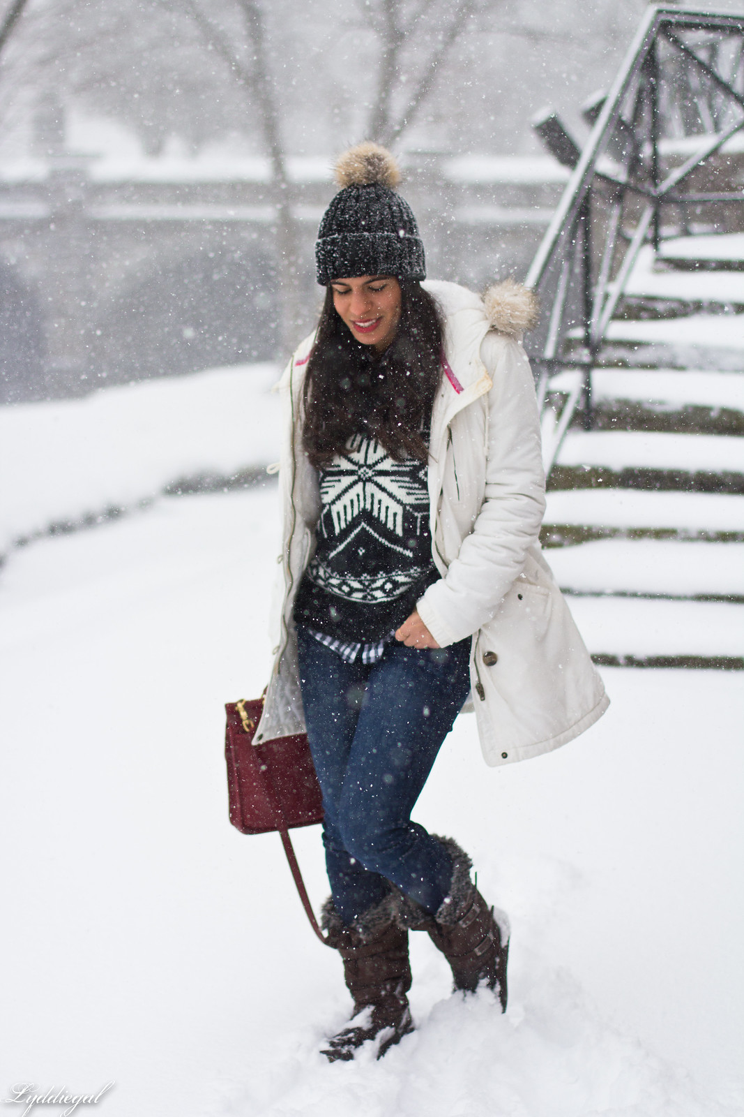 nordic sweater, denim, snow boots, white parka-3.jpg