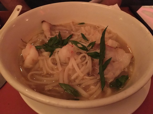 Vietnamese pho soup with shrimp and pork tenderloin - The Tropicale