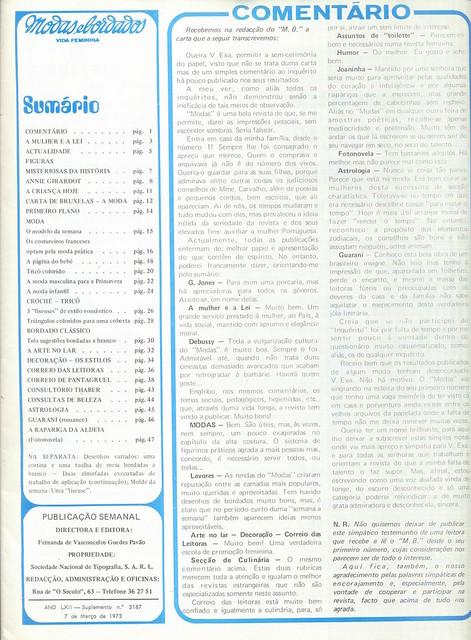 Modas e Bordados, No. 3187, 7 Março 1973 - 2