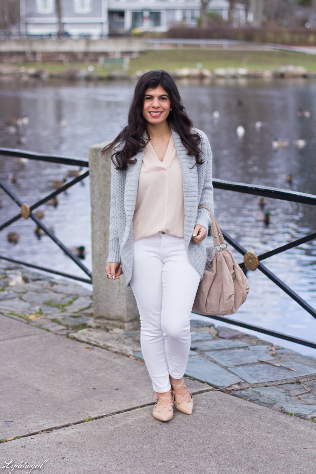 blush pink blouse, grey cardigan, white denim, lace-up flats.jpg
