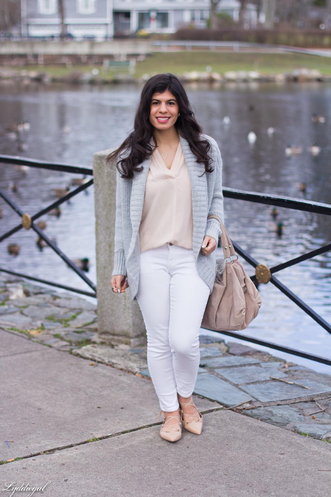 blush pink blouse, grey cardigan, white denim, lace-up flats.jpg