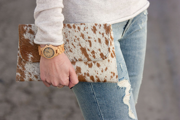 Jackson and Hyde Clutch, Brown Cowhide Clutch, Jord Watch