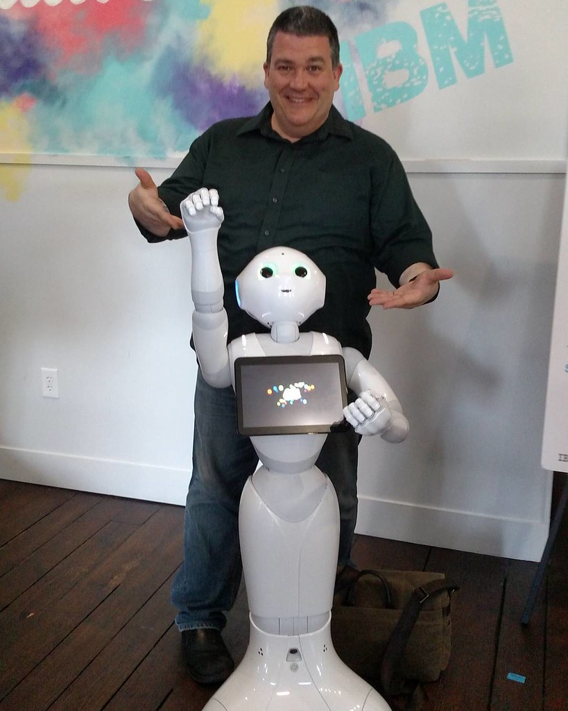 No big deal. Just hanging with a Watson connected robot at the #IBM house during #SXSW