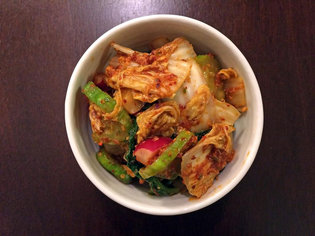 Cabbage, cucumber, and radish kimchi