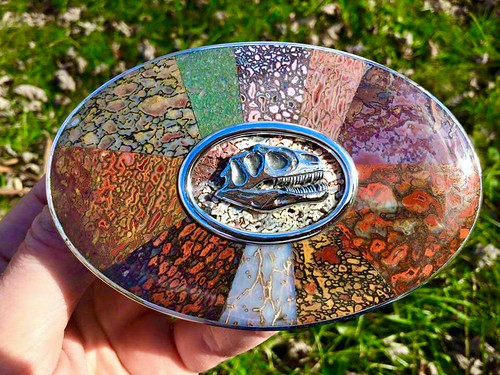 Gembone Inlay Belt Buckle #1. Hand engraved front and back. Hand fabricated. By Mark Anderson of Different Seasons Jewelry.
