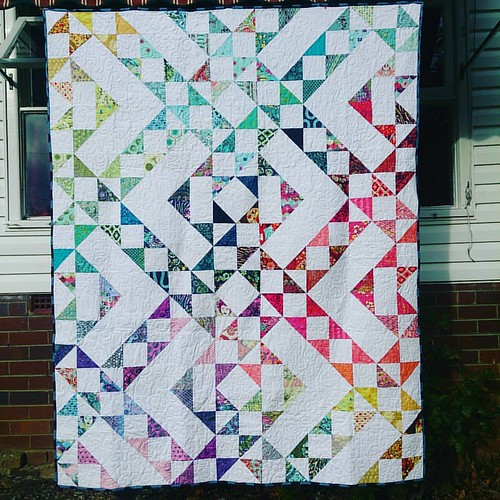 "A day (or two) late, but hopefully not a dollar short! This is ""Intulawoven"" although I've started to think I should call it ""Tula With A Twist"" - apart from the white, all the fabrics (both front and back) are Tula! Posted, finished, for the #igquiltfest"