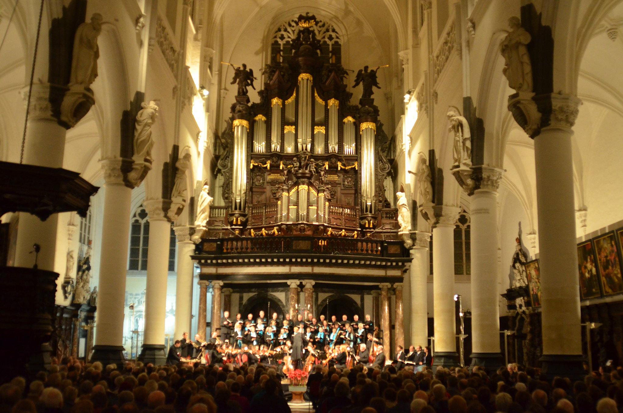 Foto van het muzikaal ensemble alegria voor een orgel.