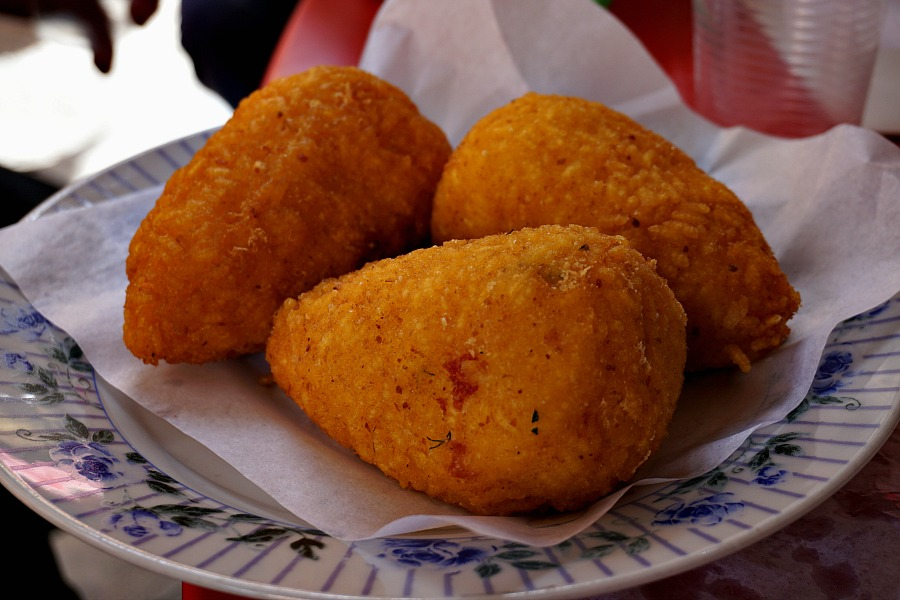 Sampling Arancini on the Palermo StrEat Food Tour