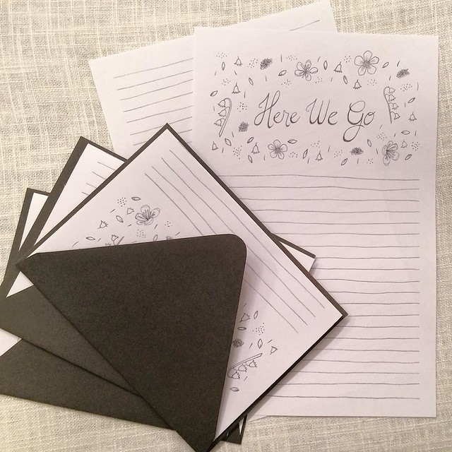 "Originally, I planned this as a notepads. ""Here we go"" just seemed perfect for to-do lists, but then when I got going it ended up as letter writing paper. What do you think? Stationery paper like this, or a notepad? #robayre100days #100dayproject"