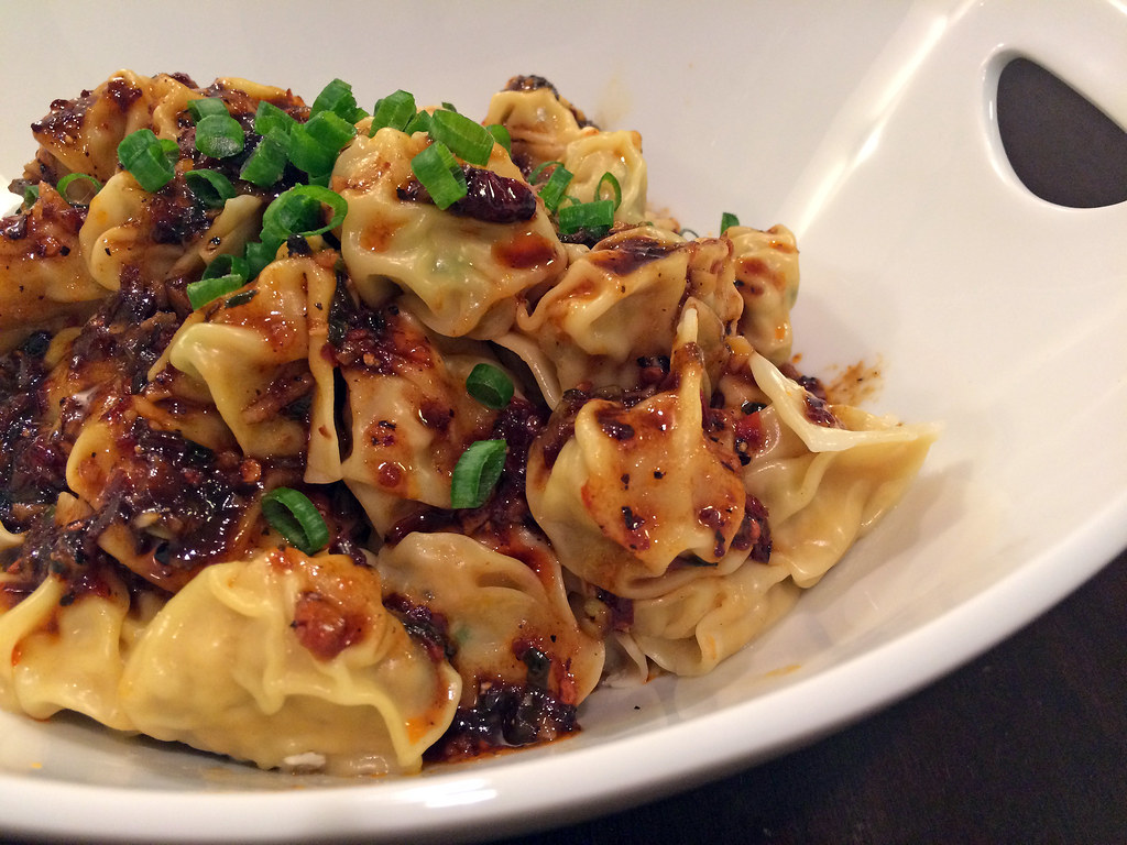 Sichuan boiled dumplings in chili oil